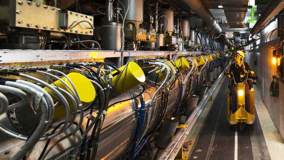 The new particle accelerator will allow physicists to smash particle beams together with a power equivalent to 10 million lightning strikes. Image credit: CERN