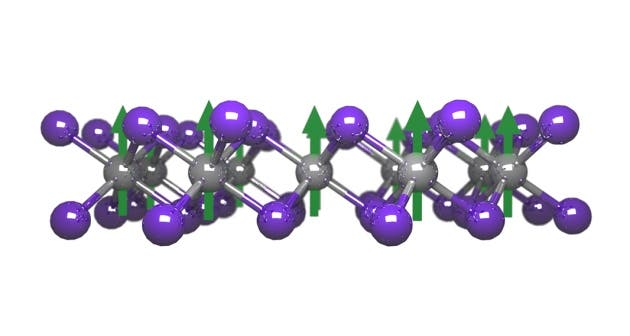 A 2-D layer of chromium triiodide atoms -- the first single-sheet magnet in the world. Credit: Efrén Navarro Moratalla.