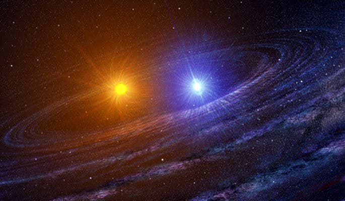 Artist impression of young binary system. Credit: NASA.