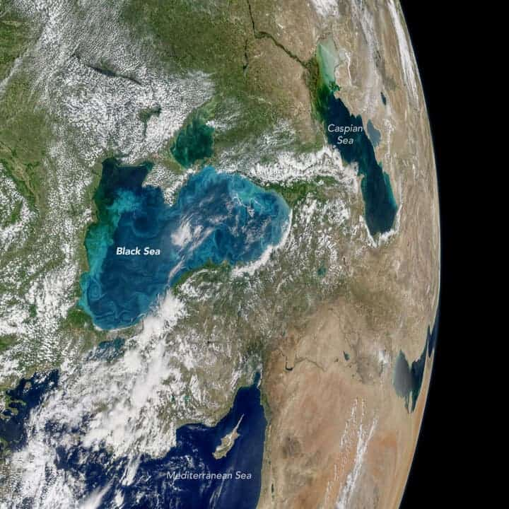 An amazing shot taken by NASA's Aqua satellite shows an algae bloom in full swing around the Black Sea. Credit: Ocean Biology Processing Group/NASA.