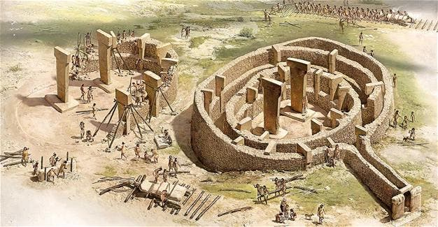 Illustration of Göbekli Tepe, a transitional Neolithic site in southeast Turkey.