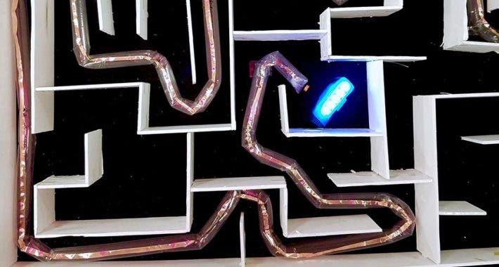 Softbot navigating maze.