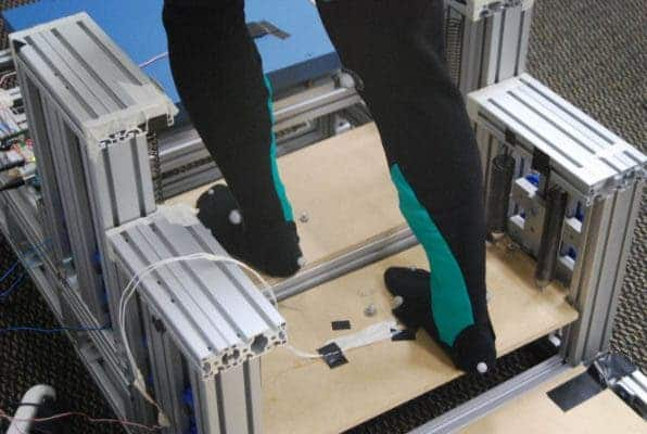 These steps lift the leg up when a person ascends on them using recycled energy. Credit: Georgia Tech.