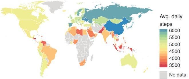 Study World Map.Are You Living In A Lazy Or An Active Country Study Maps How Much
