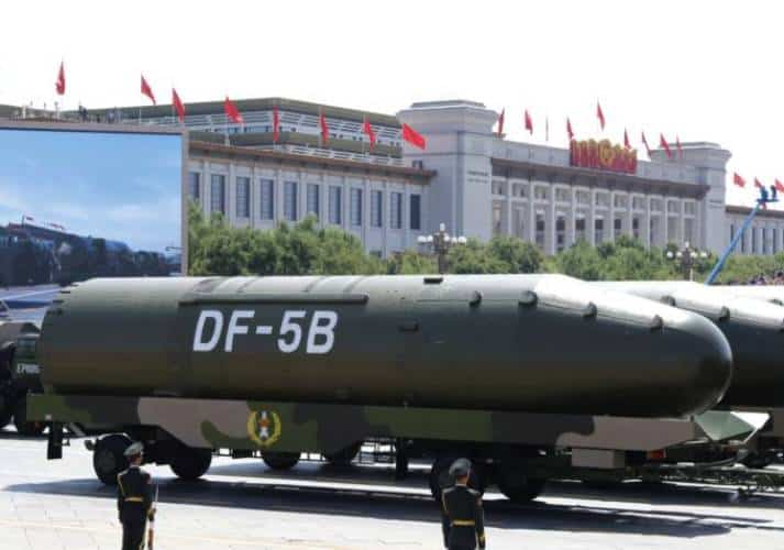 The Dong Feng-5 (DF-5) is an intercontinental ballistic missile (ICBM). The two-stage, liquid-propellant missile has a range of 10,000 - 13,000 km.