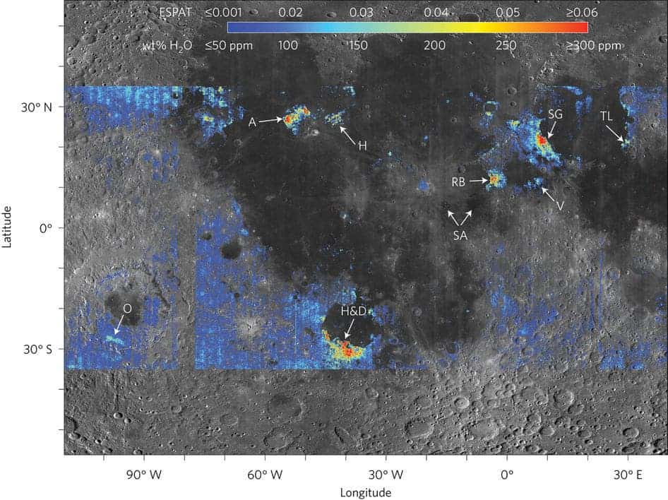 This colored areas on this map show spots with elevated water content compared with surrounding terrain on the moon's surface. Yellow and red indicate the richest water content. Credit: Milliken lab/Brown University