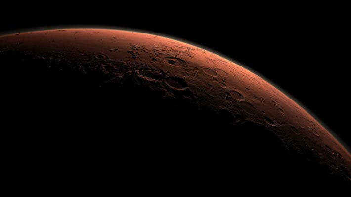 This computer-generated view depicts part of Mars at the boundary between darkness and daylight. Credit: NASA/JPL-Caltech/Handout