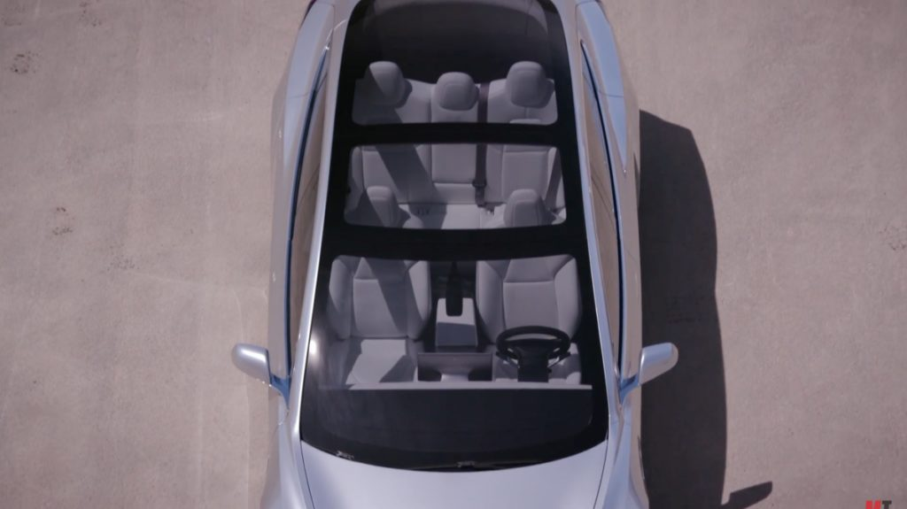 The Model 3 features an amazing roof design. Credit: YouTube/Motor Trend.