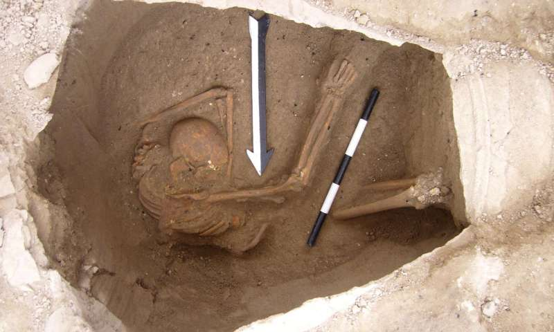 A large jar burial containing the remains of one of the individuals sequenced in the study. Credit: Dr. Claude Doumet-Serhal.