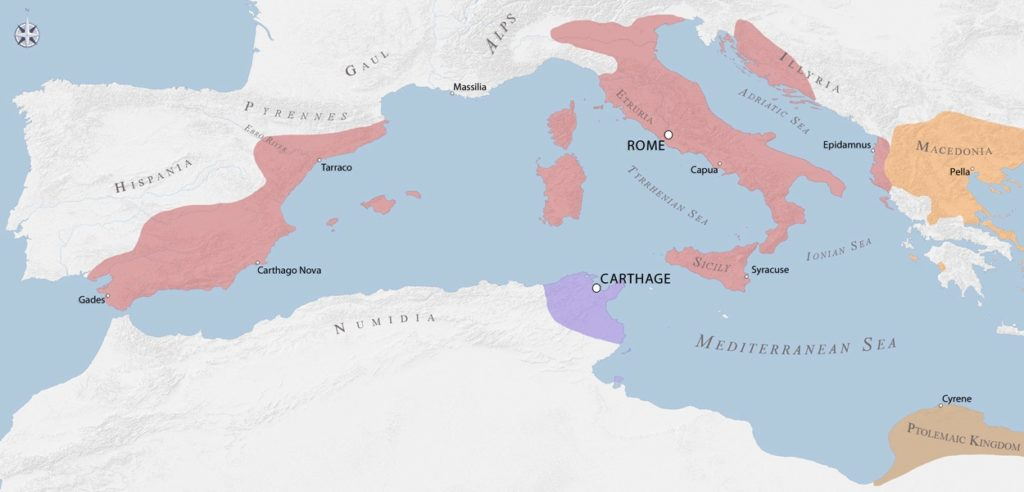 Roman Empire borders following the 2nd Punic War in 209 BC.