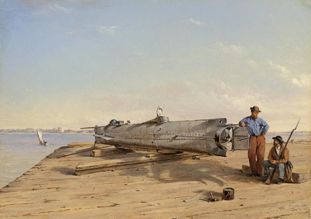1864 painting of H. L. Hunley by Conrad Wise Chapman.