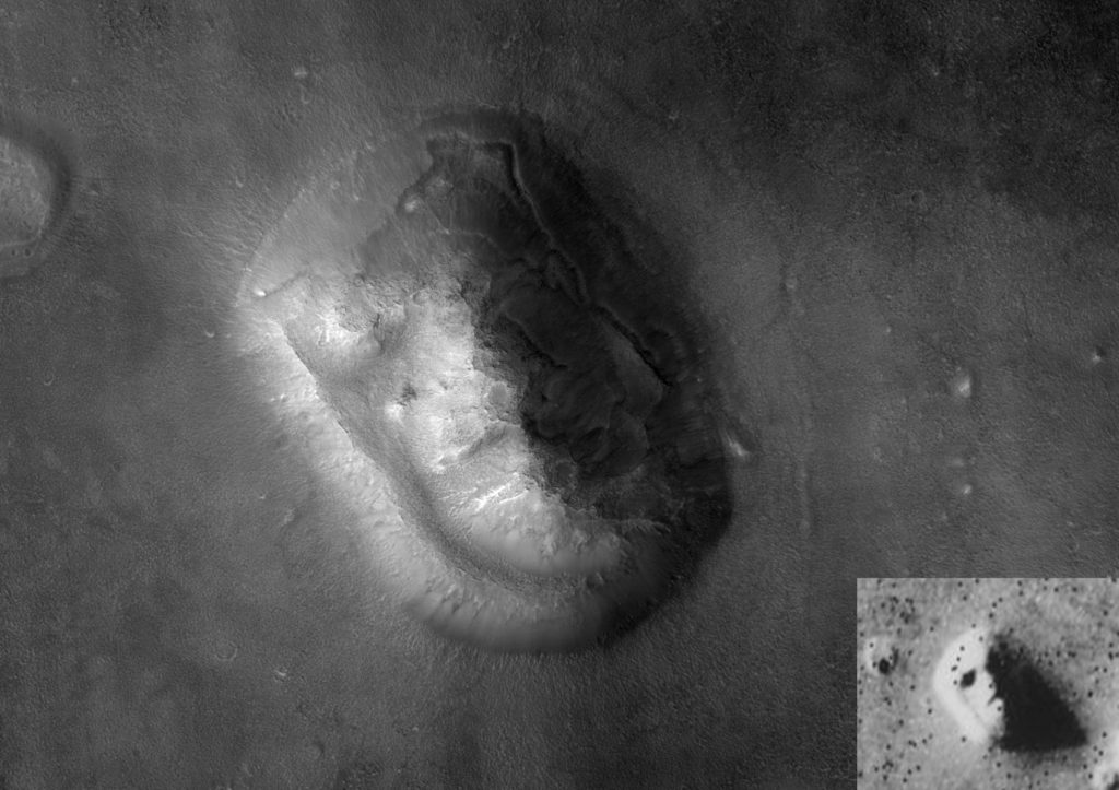 Right-lower corner: the low-resolution 'face on Mars' versus a 2001 high-resolution image of the same Cydonia region. Credit: Wikimedia Commons.