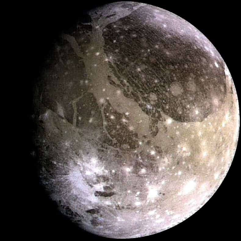 Ganymede is Jupiter's largest moon and also the largest moon in the solar system. Credit: Wikimedia Commons.