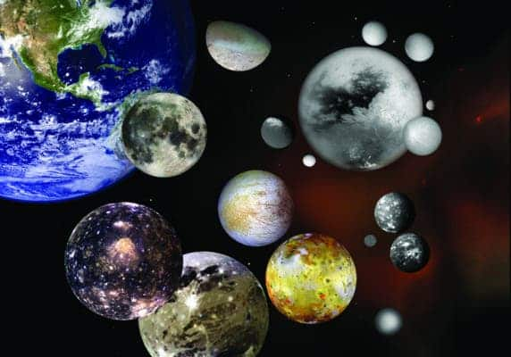 This photo illustration shows selected moons of our solar system at their correct relative sizes to each other and to Earth. Pictured are Earth's Moon; Jupiter's Callisto, Ganymede, Io and Europa; Saturn's Iapetus, Enceladus, Titan, Rhea, Mimas, Dione and Tethys; Neptune's Triton; Uranus' Miranda, Titania and Oberon and Pluto's Charon. Credit: NASA.