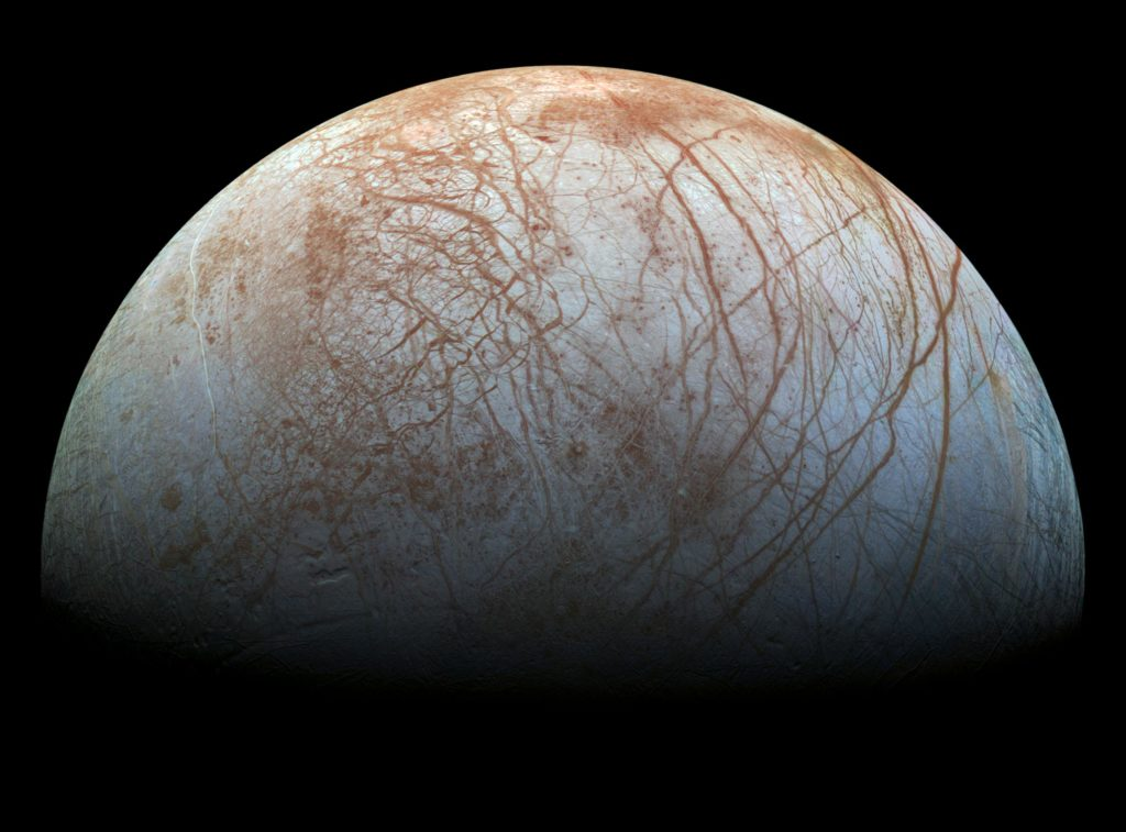 Jupiter's icy moon Europa. Credit: NASA.