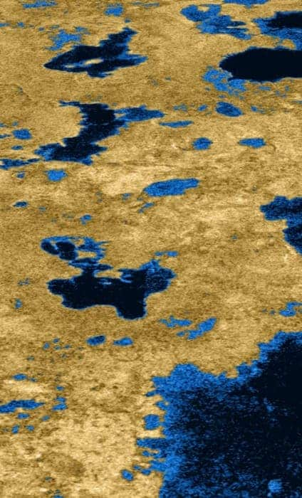 Cassini radar map of Titan's surface. Credit: Cassini Radar Mapper, JPL, ESA, NASA.