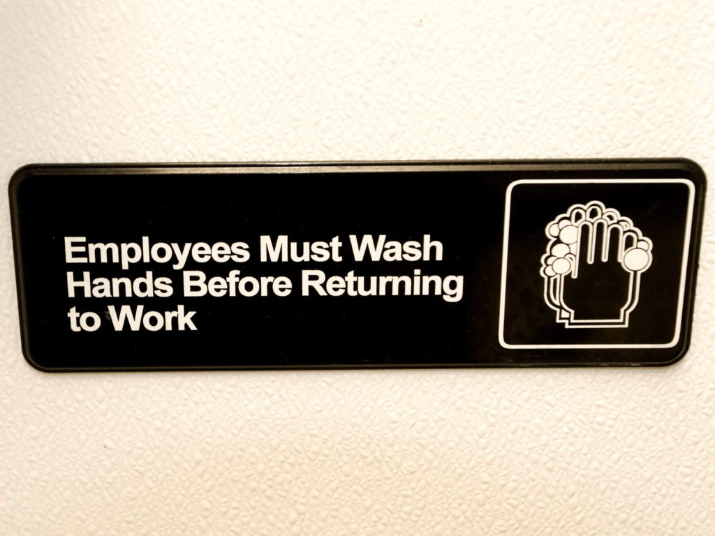 Wash hands sign.