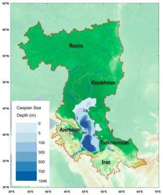 Caspian Sea Depth.