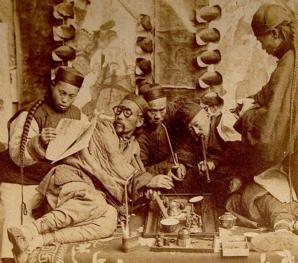 Vintage Chinese opium session. Credit: Public Domain.
