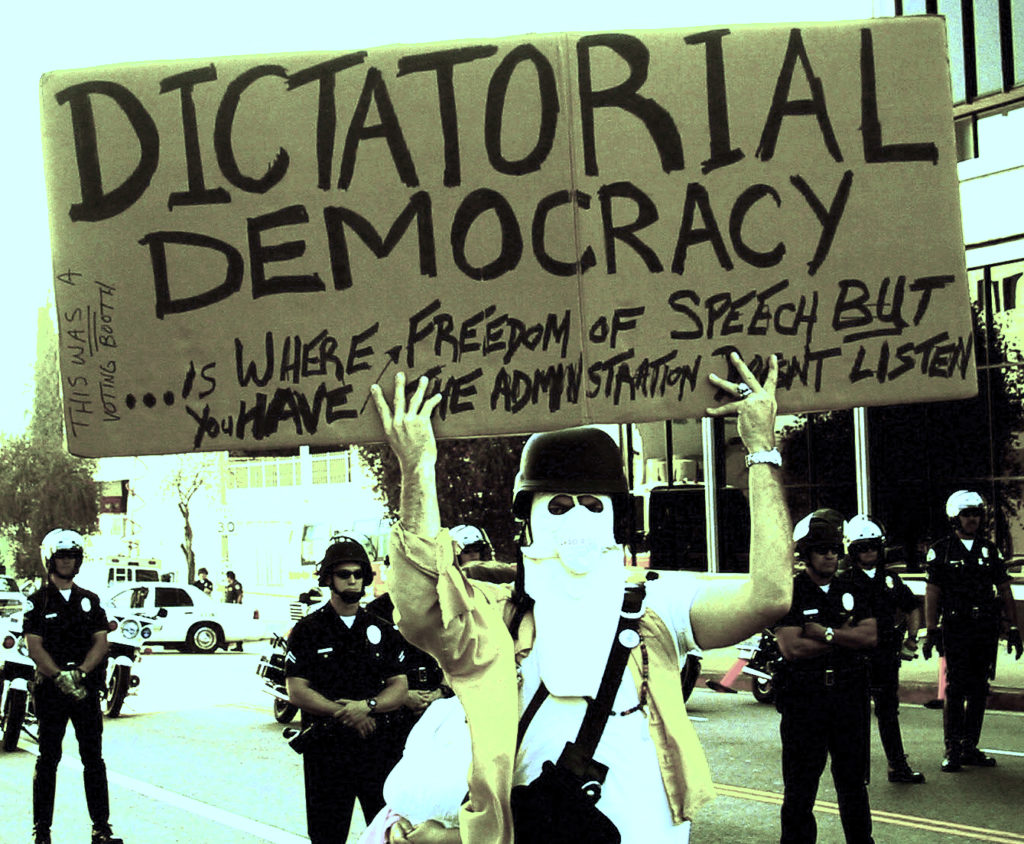 Dictatorial democracy sign.