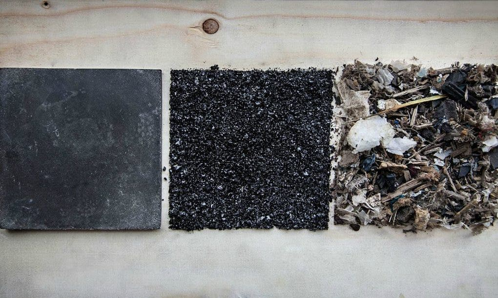 Left to right: plasma rock, waste turned into powder for gassification, starting landfill waste. Credit: Inge Sluijs.