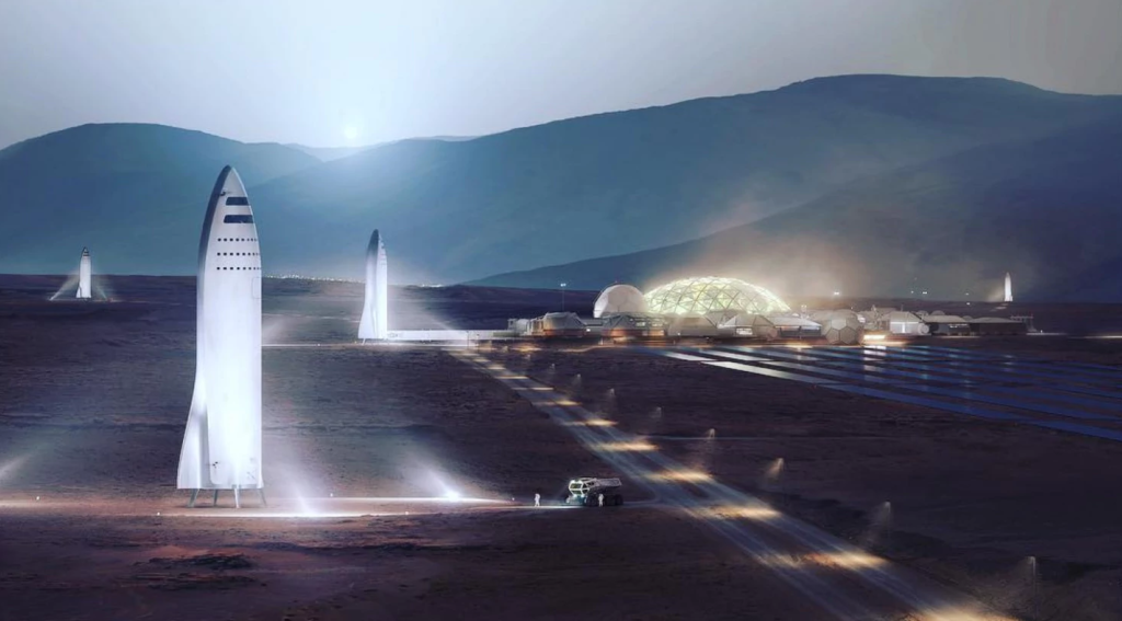 "Concept image of spacecraft landing on Mars, next to a human settlement. Musk said early this Friday that he wants to make the Red Planet ""a nice place to be. The plan is to reach a human colony with a population numbering around one million. Credit: SpaceX."