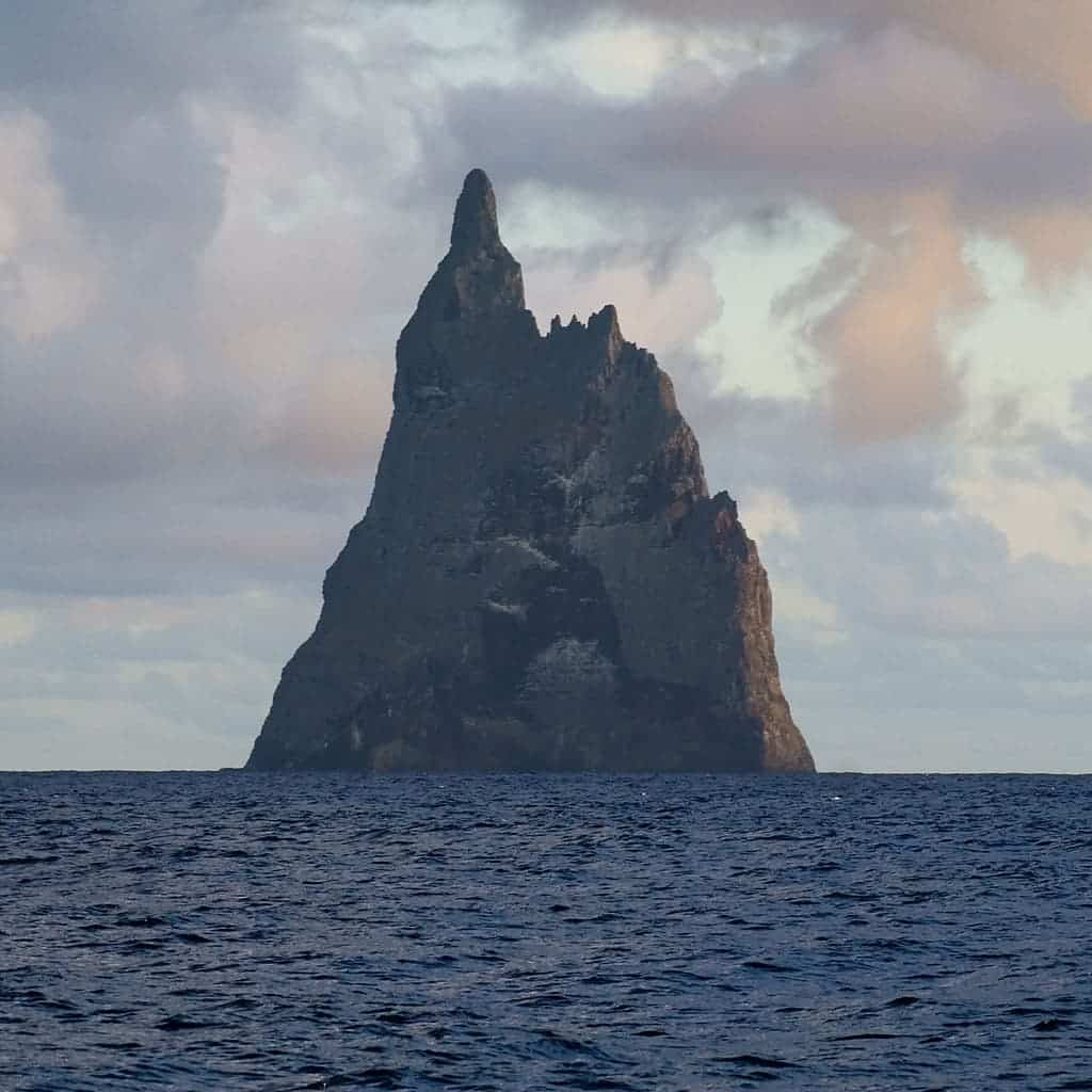 This isn't a CGI rendering for some fantasy movie. Ball's Pyramid (named after a European named Ball who first saw it in 1788) was formed 7 million years ago due to a volcanic eruption.