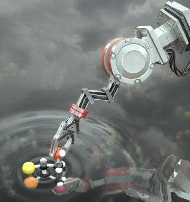 Artist's impression of the molecular robot manipulating a molecule. Credit: Stuart Jantzen.