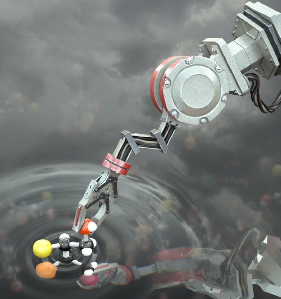 Artist's impression of the molecular robot manipulating a molecule. Credit: Stuart Jantzen.