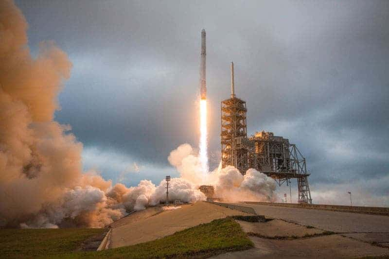SpaceX launches third pre-flown rocket with EchoStar-SES satellite, lands booster