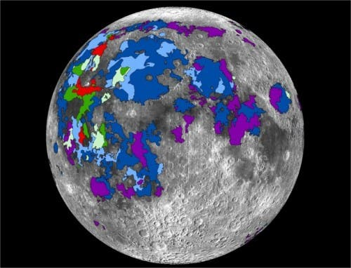 Map of basaltic lavas that emitted gases on the lunar nearside. Credit: Debra Needham.