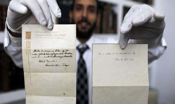 Einstein's two notes on living a quiet and modest life sold for $1.8 million combined. Credit: Barath Tripard/Twitter.