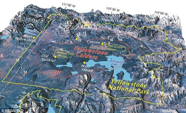 The Yellowstone caldera (circled in red) in Wyoming is the world's largest super-volcano. Credit: USGS.