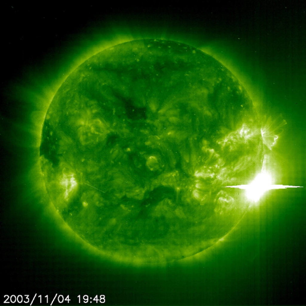 The Sun unleashed a powerful flare on 4 November 2003. The Extreme ultraviolet Imager in the 195A emission line aboard the SOHO spacecraft captured the event. Credit: ESA & NASA/SOHO