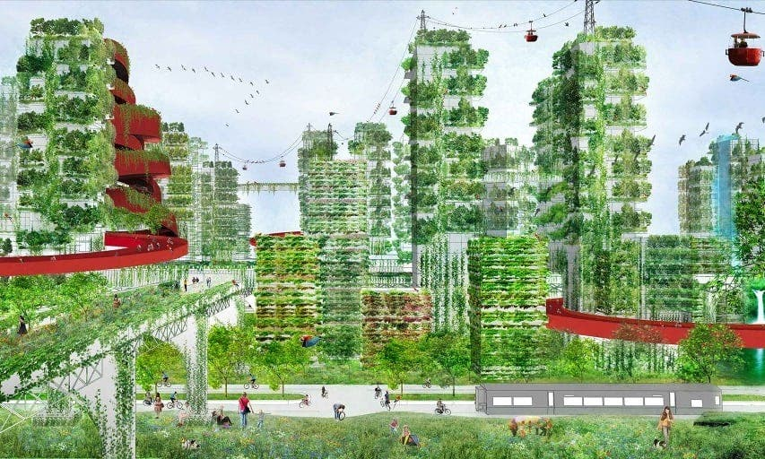 Artist impression of the 'Forest City' planned in in the eastern Chinese city of Nanjing. Credit: Stefano Boeri Architetti.