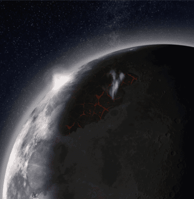 Artist's impression of the Moon, looking over Imbrium Basin, with lavas erupting, venting gases, and producing a visible atmosphere. Credit: NASA MSFC.