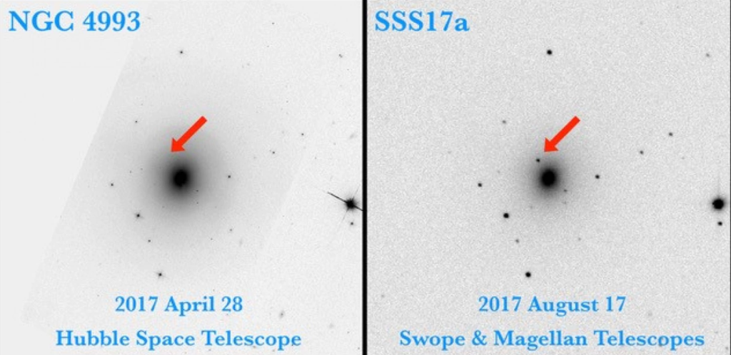 The black dot on the right shows where the kilonova signal comes from. The left image shows the same patch of the sky taken by the Hubble telescope in April, before the two neutron stars collided. Credit: Swope Supernova Survey, UC Santa Cruz.
