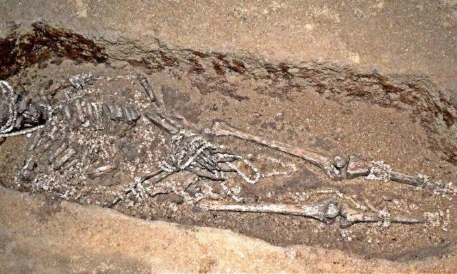 One of the burials from Sunghir, in Russia. Credit: University of Cambridge, UK.