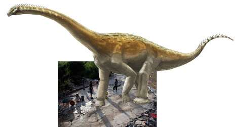 Artist's impression of Plagne sauropod superimposed on its tracks. Credit: Illustration by A. Bénéteau; photo by Dinojura.