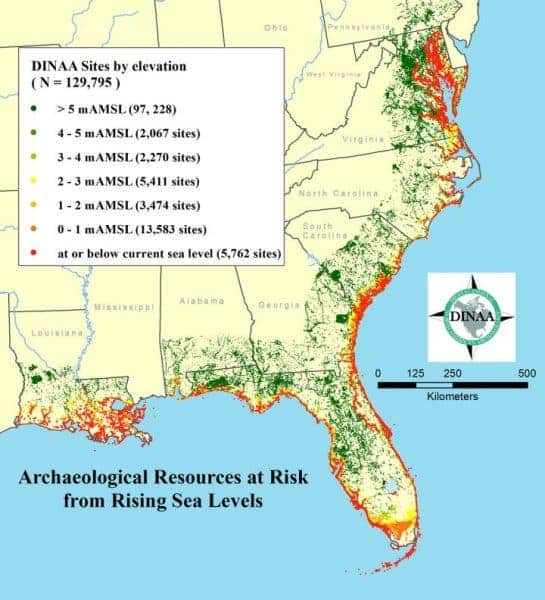 Rising Sea-Level Threatens 13000 Archaeological Sites in Us