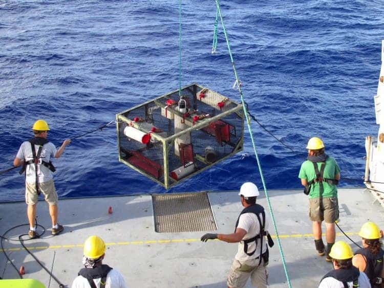 Researchers recover a trap after it landed on the bottom of the Mariana Trench. Credit: Paul Yancey.