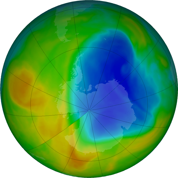 Hole in ozone layer shrinking and at its smallest since 1988