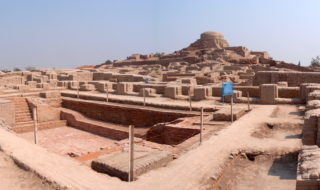 Stupa mound and Great Bath in Mohenjo daro.