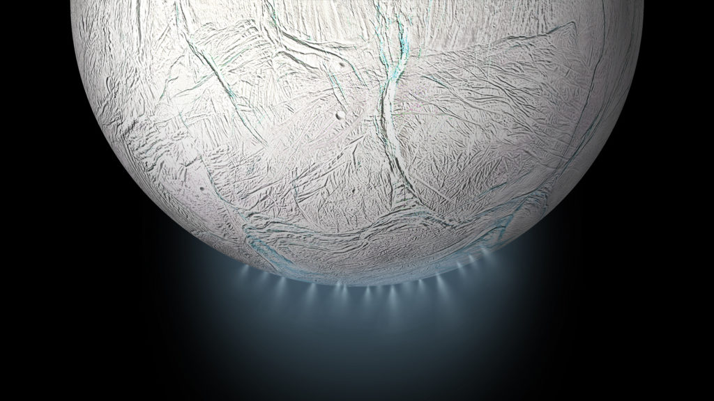 Artist impression of plumes gushing out of Enceladus' south pole. Credit: NASA.