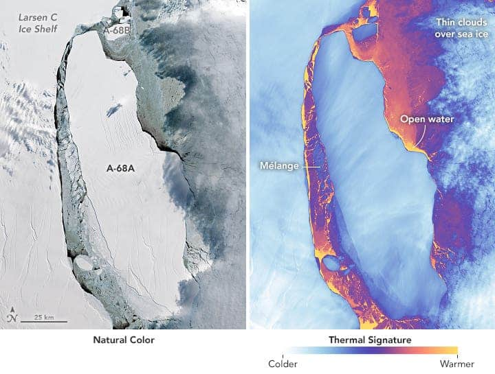 The image on the left shows the icebergs in natural color. The rifts on the main berg and ice shelf stand out, while clouds on the east side cast a shadow on the berg. The thermal image on the right shows the same area in false-color. Acquired Sep. 16, 2017. Credit: NASA.