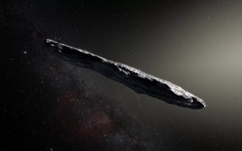 Artist illustration of the first interstellar asteroid, 'Oumuamua. Credit: M. Kornmesser/ESO.