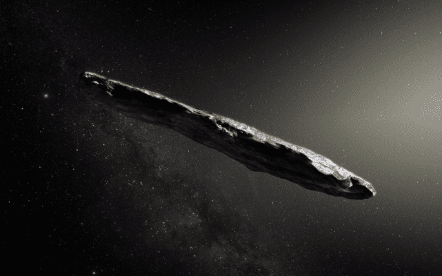 Artist illustration of the first interstellar asteroid, 'Oumuamua. Credit: M. Kornmesser/ESO.