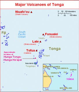 A map showing a large scale view of the South Pacific with the Kingdom of Tonga highlighted in purple. (Main map) Hunga Tonga and Hunga Ha'apai lie on the rim of a submarine caldera located 65 km N of a wharf in the harbor at Nuku'alofa, Tongatapu island (the main island of the archipelago). Credit: USGS.