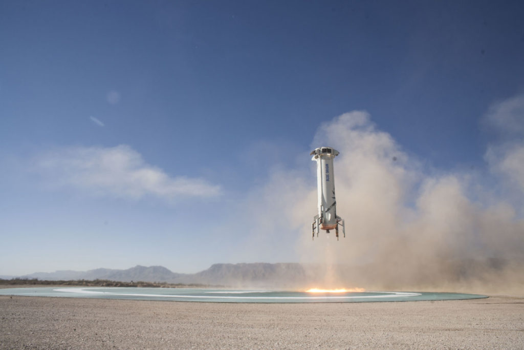 The New Shepard booster made a controlled landing at just 6.75mph. Credit: Blue Origin.