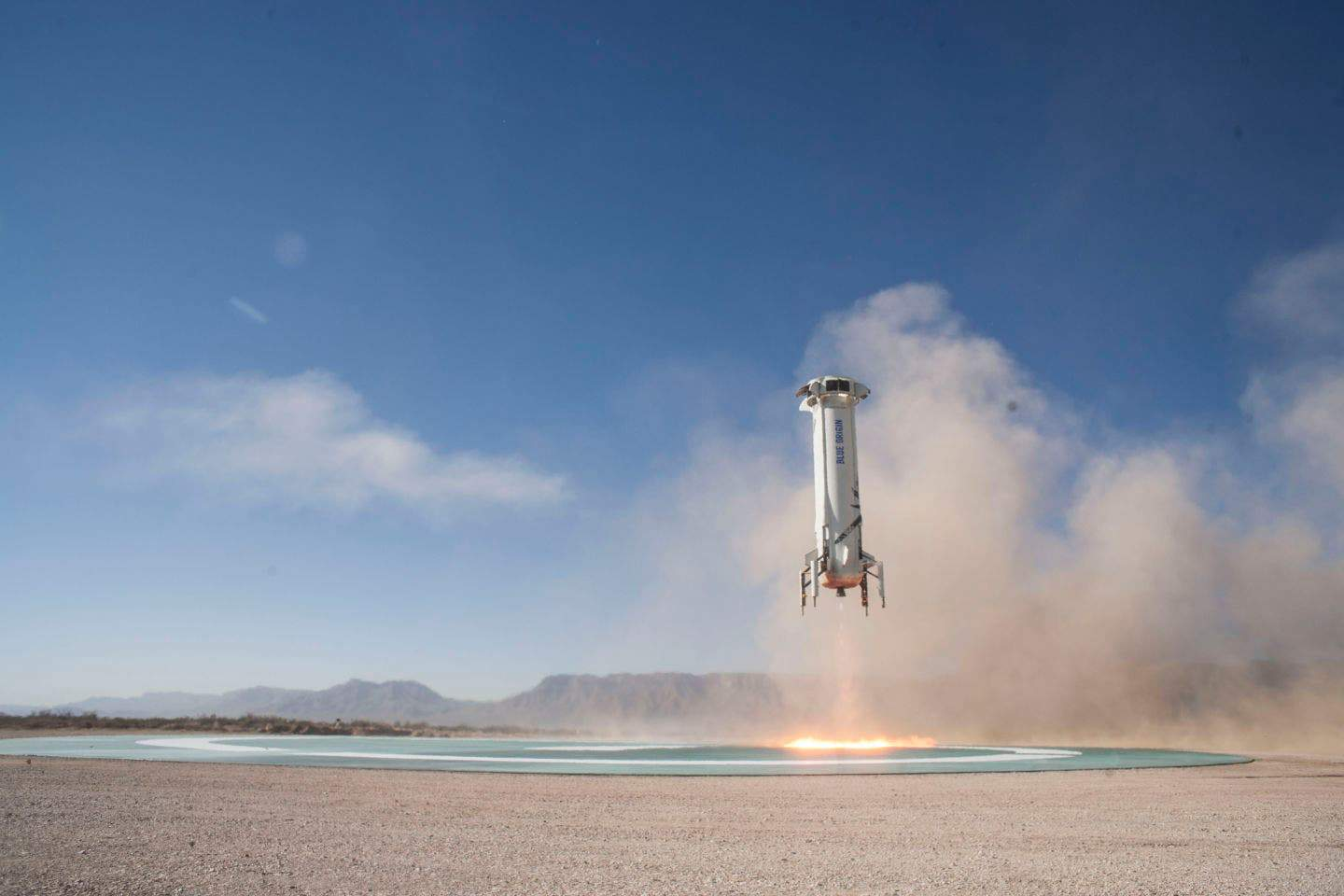 The New Shepard booster made a controlled landing at just 6.75mph. Credit Blue Origin